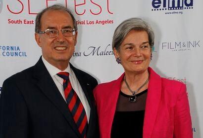 Vesselin Valchev, Consul General of Bulgaria, and on the right, Vera Mijojlic, Artistic Director of SEE