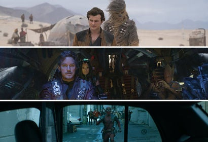 "Scenes from ""Solo: A Star Wars Story"", ""Avengers: Infinity War"" and ""Deadpool 2"""