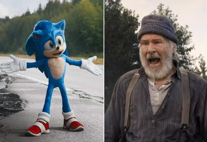 """Ben Schwartz in """"Sonic the Hedgehog"""" and Harrison Ford in """"The Call of the Wild"""""""