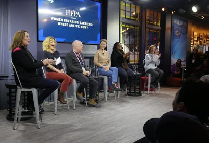 "Elisabeth Sereda (HFPA), Kyra Sedgwick, Cassian Elwes, Jenna Elfman, Octavia Spencer and Silvia Bizio (HFPA) enjoy a laugh at the HFPA's ""Women Breaking Barriers: Where Are We Now?"" in Sundance"