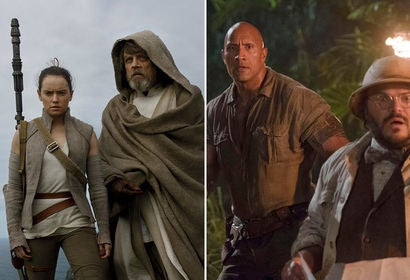"Scenes from ""Star Wars: The Last Jedi"" and ""Jumanji: Welcome to the Jungle"""