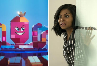 "Tiffany Haddish in ""The Lego Movie 2: The Second Part"" and Taraji P. Henson in ""What Men Want"""
