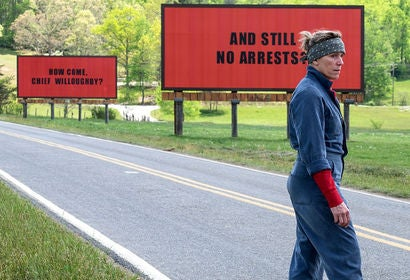 "Scene from ""Three Billboards Ouside Ebbing, Missouri"""