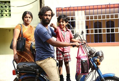 """Dharun Bala, Santhosh Sreeram, and Sheela Rajkumar in """"To Let"""" (2019)"""