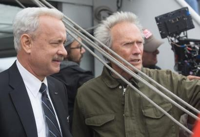 "Tom Hanks and Clint Eastwood on the set of ""Sully"""