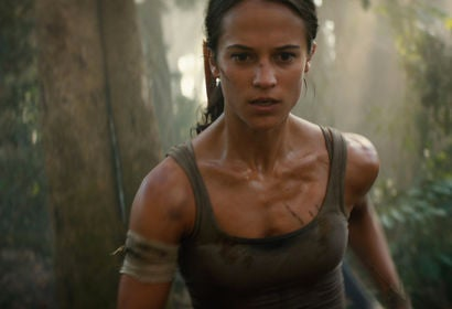 "Actress Alicia Vikander, Golden Globe nominee in a scene from ""Tom Raider"""