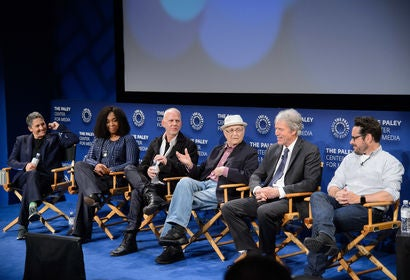 Jill Soloway, Shonda Rhimes, David E. Kelley, Normal Lear, Ryan Myrphy and JJ ABrams at the Game Changers Panel, Paley Center, Beverly Hills, october 2017