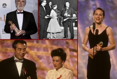 Ernest Borgnine, Michael Haneke, Holly Hunter and Chen Kaige at the Golden Globes