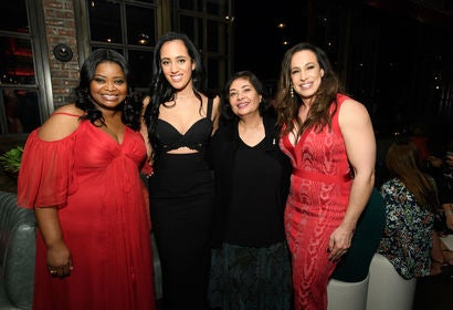 Octavia Spencer, Golden Globe Amabassador Simone Garcia Johnson, HFOA president Meher Tatan and Dany Garcia, Simone's mother, at the Ambassador 2018 event