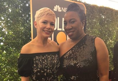 Golden Globes 2018: Tarana Burke (Left), leader of the Me Too movement, with Michele Williams
