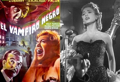 "Scene and poster of ""El vampiro negro"""