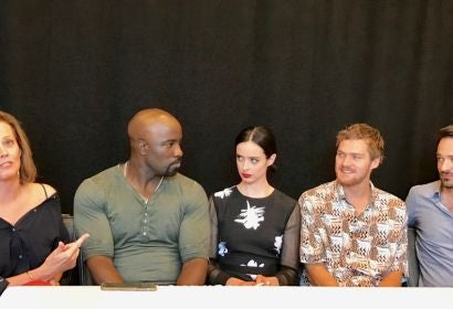 The cast of Defenders at the HFPA lounget at Comic Con 2017