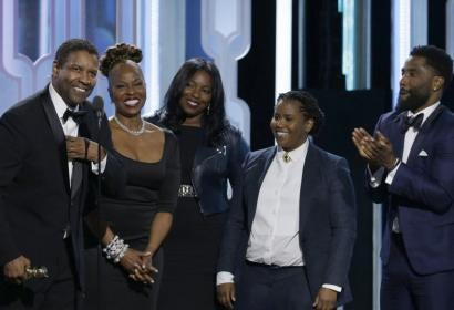 Golden Globe winner Denzel Washington  at the 73rd Golden Globes and his family