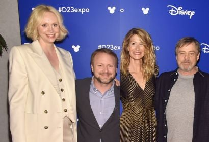 Gwendoline Christie, Rian Johnson, Laura Dern and Mark Hammill