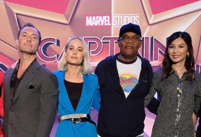 Jude Law, Brie Larson, Samuel L. Jackson, Gemma Chan - Captain Marvel