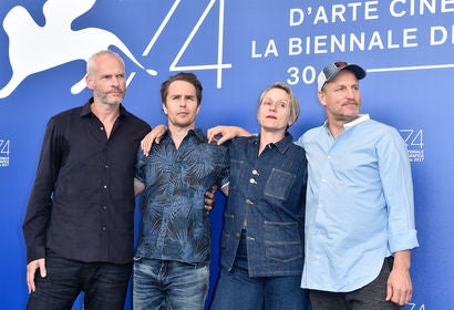 Martin McDonagh, Sam Rockwell, Woody Harrelson and Frances McDormand attend the 'Three Billboards Outside Ebbing, Missouri ' photocall during the 74th Venice Film Festival at Sala Casino on September 4, 2017 in Venice, Italy.