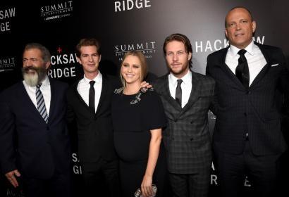 Director Mel Gibson, actors Andrew Garfield, Teresa Palmer, Luke Bracey, and Vince Vaughn attend the screening of Summit Entertainment's 'Hacksaw Ridge' at Samuel Goldwyn Theater on October 24, 2016 in Beverly Hills, California.