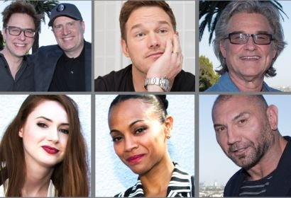 James Gunn, Kevin Feige, Chris Pratt, Kurt Russell, Karen Gillian, Zoe Saldana and Dave Bautista