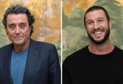 "Ian McShane and Pablo Schreiber from ""American Gods"""