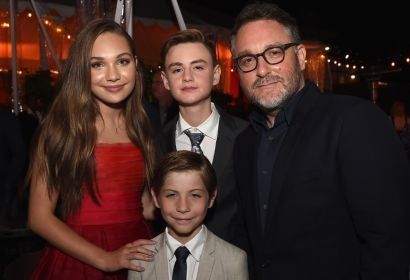 (L-R) Actor Maddie Ziegler, actor Jaeden Lieberher, actor Jacob Tremblay (foreground) and director Colin Trevorrow