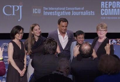 Terry Tang, Blanka Zöldi, Ramzy Malouki, Maria Ressa and Kathleen Carroll