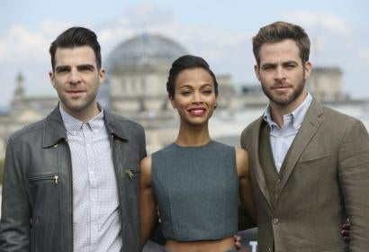 Zachary Quinto, Zoe Saldana and Chris Pine