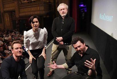 Michael Fassbender, Katherine Waterston, director Ridley Scott and Danny McBride