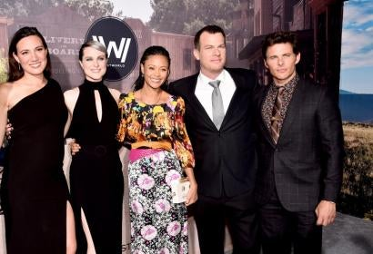 Jonathan and Lisa Joy Nolan, Evan Rachel Wood, James Marsden and Thandie Newton from Westworld