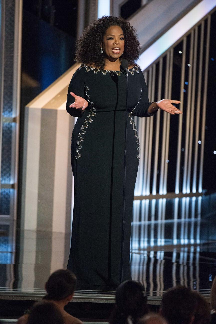Oprah Winfrey Presnet at the 2015 Golden Globe Awards