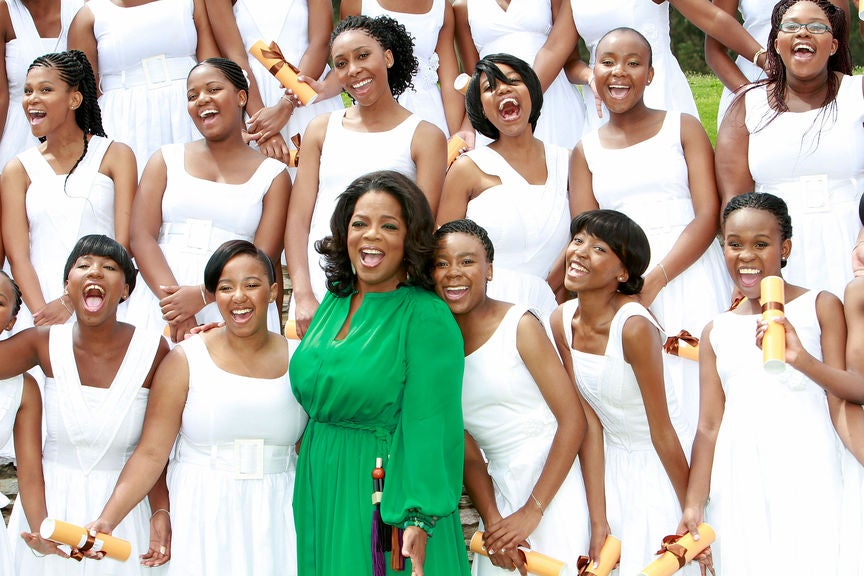 Oprah at the graduation of the 2011 class of the Oprah Winfrey Leadership Academy for Girl