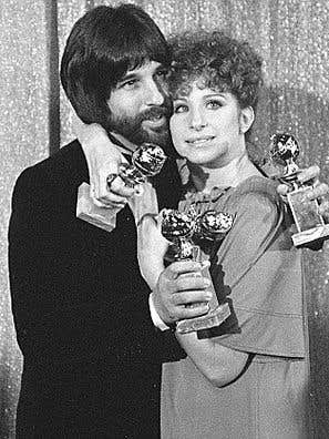 "Barbra Streisand and Jon Peters, Golden Globe winners, ""A Star is Born"""