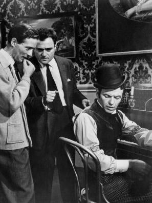 Michael Anderson, Michael Todd and Frank Sinatra on set. Around the World in 80 Days