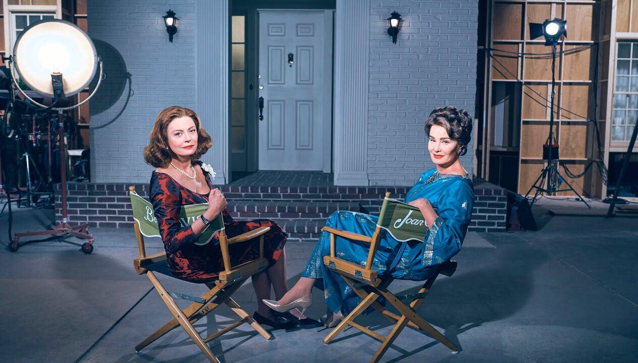 Golden Gloe winenrs Susan sarandon and Jessica Lange on set of the TV series Feud