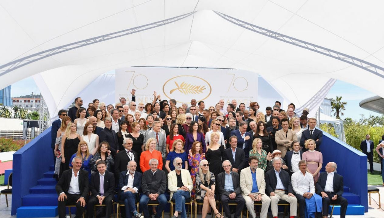 Official photo of Cannes winners at teh70th Anniversary celebration