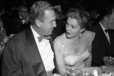 Esther Williams, with husband Ben Gage, at the Golden Globes banquet, 1956