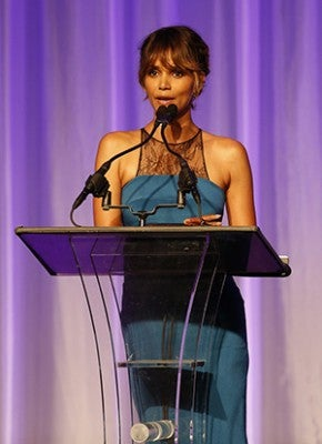 Beverly Hills, CA. August 13, 2015 Hollywood Foreign Press Association presents annual Grants Dinner Thursday night from the Beverly Wilshire Hotel.  The HFPA will present more than $2 million in donations to non-profit entertainment-related organizations and scholarship programs.  Pictured:  Halle Berry accepts for the Globalgirl Media / Film Aid.